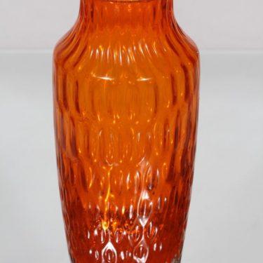 Riihimäen lasi 1433 maljakko, oranssi, suunnittelija Tamara Aladin, retro