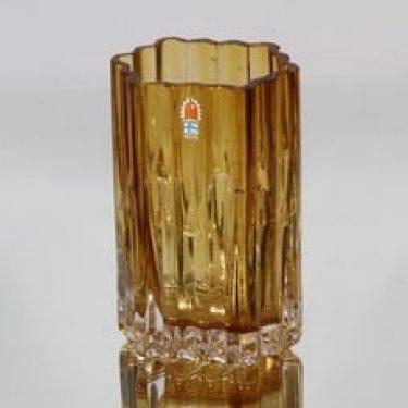 Humppila Mesiurut maljakko, amber, suunnittelija Tauno Wirkkala, pieni
