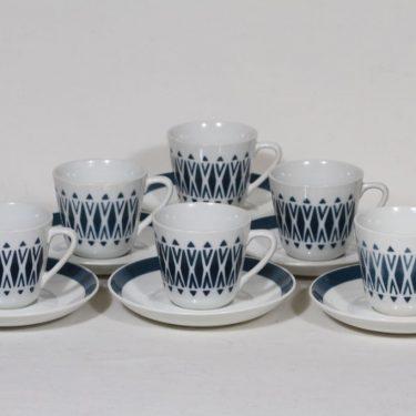 Arabia nimetön koriste kahvikupit, turkoosi, 6 kpl, suunnittelija , puhalluskoriste