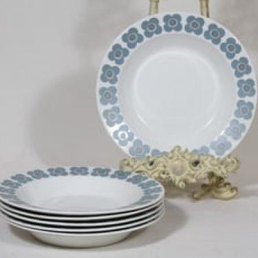 Arabia Veera lautaset, syvä, 6 kpl, suunnittelija Esteri Tomula, syvä, serikuva, retro