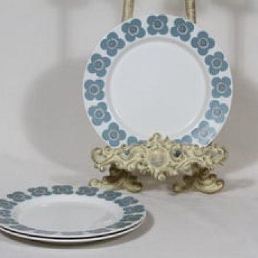 Arabia Veera lautaset, siniharmaa, 3 kpl, suunnittelija Esteri Tomula, serikuva, pieni, retro