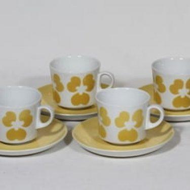 Arabia nimetön koriste kahvikupit, keltainen, 4 kpl, suunnittelija , puhalluskoriste, retro