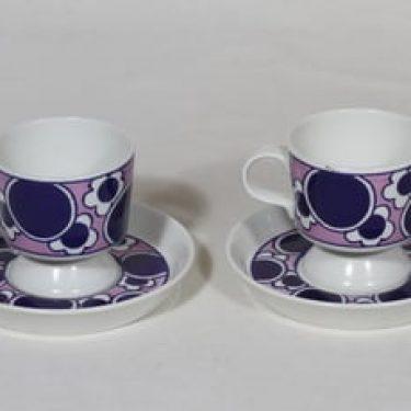 Arabia Pauliina kahvikupit, 2 kpl, suunnittelija Anja Jaatinen-Winquist, serikuva, retro