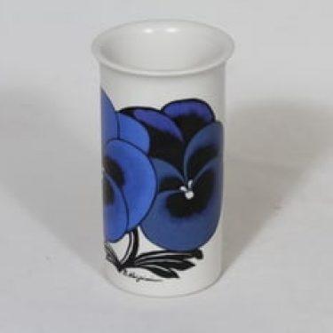 Arabia maljakko, sininen, suunnittelija Birger Kaipiainen, serikuva, kukka-aihe