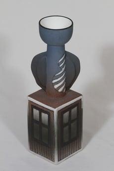 Arabia kynttilänjalka kynttilänjalka, käsinmaalattu, suunnittelija Heljä Liukko-Sundström, käsinmaalattu, signeerattu, numeroitu