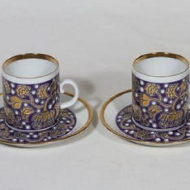 Arabia Iiris mokkakupit, 2 kpl, suunnittelija Anja Jaatinen-Winquist, serikuva, kultakoriste, retro