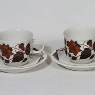 Arabia Tea for Two teekupit, rosa, 2 kpl, suunnittelija Gunvor Olin-Grönqvist, serikuva, kukka-aihe