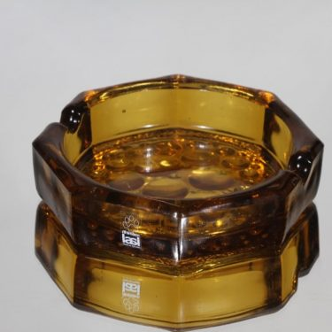 Riihimäen lasi Stella Polaris tuhka-astia, amber, suunnittelija Nanny Still,