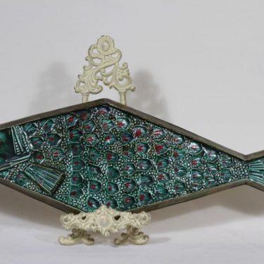 Arabia koristelaatta, käsinmaalattu, suunnittelija Taisto Kaasinen, käsinmaalattu, suuri, käsityö, signeerattu