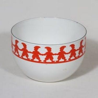 Finel kulho, punainen, suunnittelija Kaj Franck, pieni, serikuva, tonttuaihe