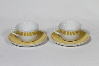 Arabia Kaide kahvikupit, keltainen, 2 kpl, suunnittelija Raija Uosikkinen, puhalluskoriste