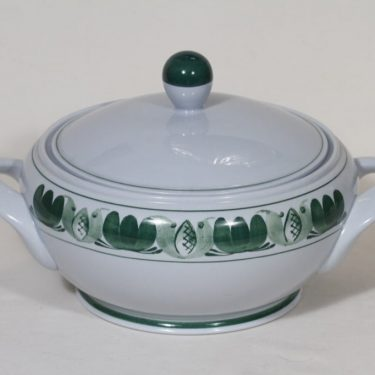 Arabia Green Laurel soup bowl, hand-painted, designer Olga Osol