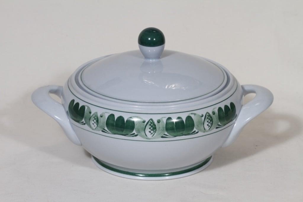 Arabia Green Laurel soup bowl, hand-painted, designer Olga Osol