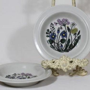Arabia Flora lautaset, syvä, 2 kpl, suunnittelija Esteri Tomula, syvä, serikuva, kukka-aihe