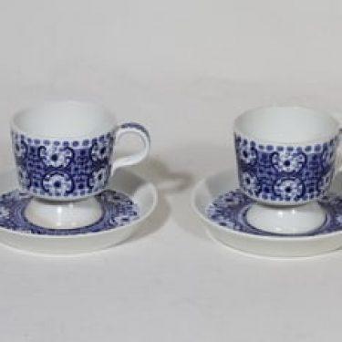 Arabia Ali kahvikupit, sininen, 2 kpl, suunnittelija Raija Uosikkinen, kuparipainokoriste