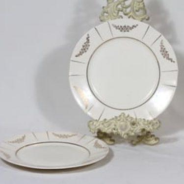 Arabia Irja lautaset, matala, 2 kpl, suunnittelija , matala, painokoriste, kultakoriste