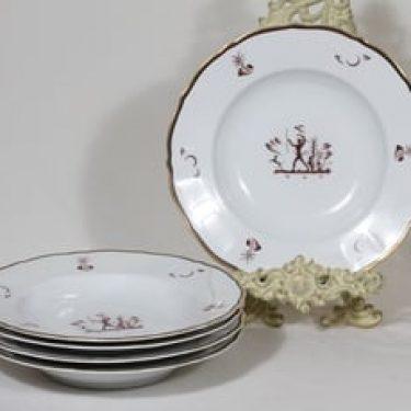 Arabia Diana lautaset, syvä, 5 kpl, suunnittelija Einar Forseth, syvä, siirtokuva, art deco