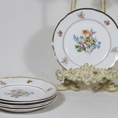 Arabia Liisa lautaset, 6 kpl, suunnittelija Aune Laukkanen, pieni, siirtokuva, kultakoriste