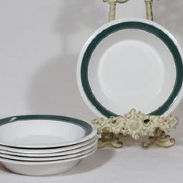 Arabia Kirsikka lautaset, syvä, 6 kpl, suunnittelija Inkeri Seppälä, syvä, raitakoriste