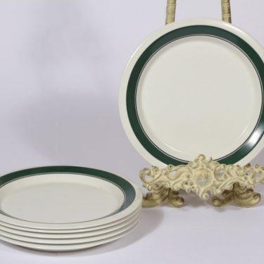 Arabia Kirsikka lautaset, 6 kpl, suunnittelija Inkeri Seppälä, pieni, matala, raitakoriste