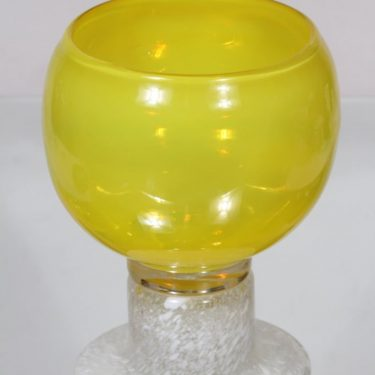 Nuutajärvi Pokaali art glass, yellow, designer Kaj Franck, big