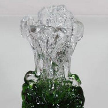 Humppila Kasvimaalla maljakko, kirkas-vihreä, suunnittelija Pertti Santalahti, massiivinen, retro