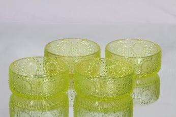 Riihimäen lasi Grapponia annoskulhot, keltainen, 4 kpl, suunnittelija Nanny Still,