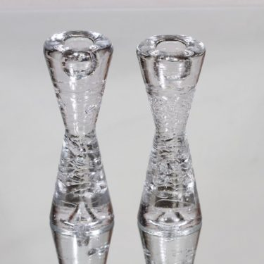 Iittala Arkipelago kynttilänjalat, kirkas, 2 kpl, suunnittelija Timo Sarpaneva, pieni