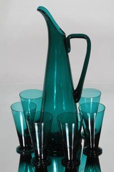 Riihimäen lasi T/355 kaadin ja lasit, turkoosi, 6 kpl, suunnittelija Nanny Still,
