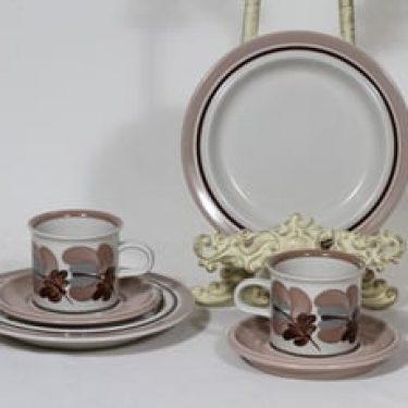 Arabia Koralli kahvikupit ja lautaset, käsinmaalattu, 2 kpl, suunnittelija Raija Uosikkinen, käsinmaalattu