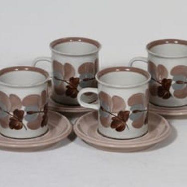 Arabia Koralli kahvikupit, 4 kpl, suunnittelija Raija Uosikkinen,