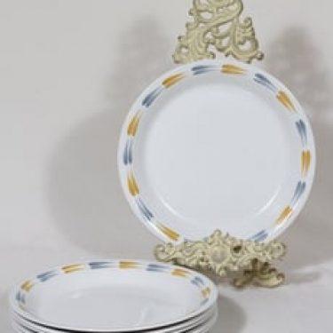 Arabia Tipla lautaset, matala, 6 kpl, suunnittelija Raija Uosikkinen, matala, käsinmaalattu, ornamentti
