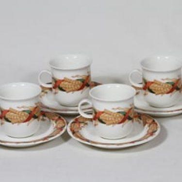 Arabia Santa Arctica kahvikupit, 4 kpl, suunnittelija Inkeri Leivo, suuri, serikuva, lyhdeaihe