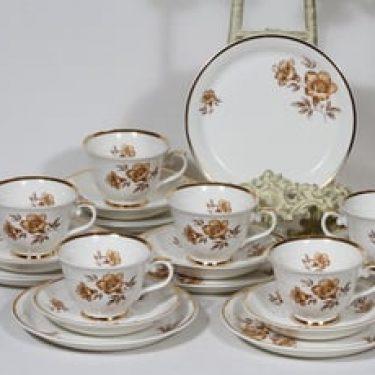 Arabia Myrna kahvikupit ja lautaset, 6 kpl, suunnittelija Olga Osol, serikuva