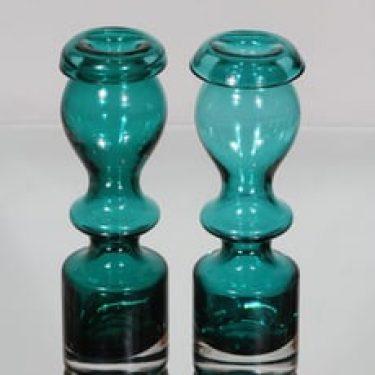 Riihimäen lasi Pompadour maljakot, turkoosi, 2 kpl, suunnittelija Nanny Still,
