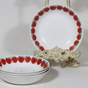 Arabia Pomona lautaset, syvä, 4 kpl, suunnittelija Raija Uosikkinen, syvä, serikuva, mansikka, retro