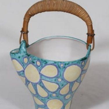 Kupittaan savi koristekori, käsinmaalattu, suunnittelija , käsinmaalattu, signeerattu, retro