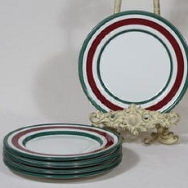 Arabia Purpurijenkka lautaset, käsinmaalattu, 6 kpl, suunnittelija Ulla Procope, käsinmaalattu, pieni, signeerattu