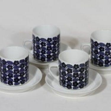 Arabia Rypäle kahvikupit, sininen, 4 kpl, suunnittelija Raija Uosikkinen, serikuva
