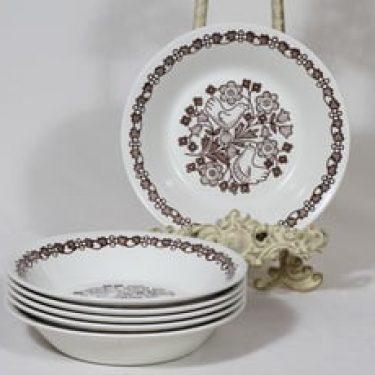 Arabia Sirkku lautaset, syvä, 6 kpl, suunnittelija Esteri Tomula, syvä, serikuva