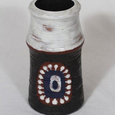 Kupittaan savi maljakko, käsinmaalattu, suunnittelija Orvokki Laine, käsinmaalattu, käsindreijattu, sigreerattu