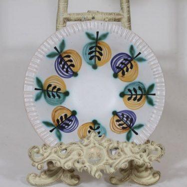 Kupittaan savi kulho, käsinmaalattu, suunnittelija Orvokki Laine, käsinmaalattu, pieni, signeerattu, hedelmäaihe