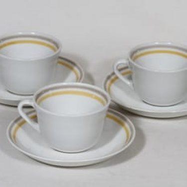Arabia Leena kahvikupit, 3 kpl, suunnittelija Olga Osol, raitakoriste