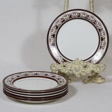 Arabia Katrilli lautaset, ruskea, 6 kpl, suunnittelija Esteri Tomula, pieni, serikuva