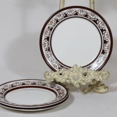 Arabia Katrilli lautaset, ruskea, 3 kpl, suunnittelija Esteri Tomula, pieni, serikuva