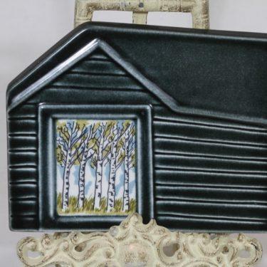 Arabia Runon mailla koristelaatta, signeerattu, suunnittelija Kerttu Nurminen, signeerattu, serikuva, koivikkoaihe
