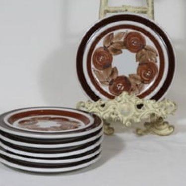 Arabia Rosmarin lautaset, signeerattu, 6 kpl, suunnittelija Ulla Procope, signeerattu, pieni, käsinmaalattu