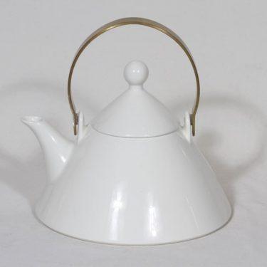 Arabia Harlekin teepannu, valkoinen, suunnittelija Inkeri Leivo,