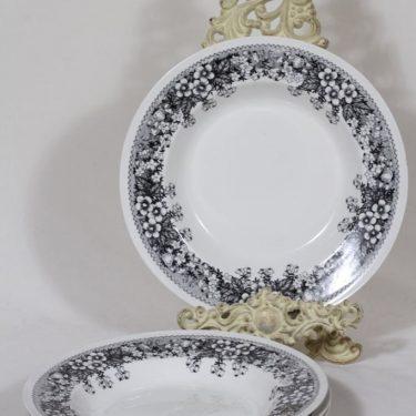 Arabia Talvikki lautaset, syvä, 4 kpl, suunnittelija Raija Uosikkinen, syvä, serikuva
