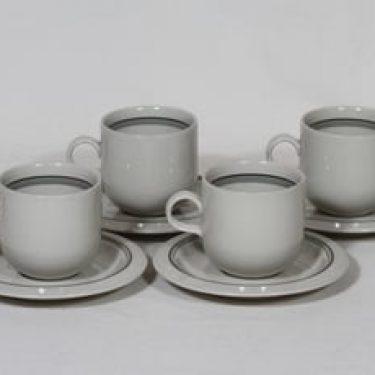 Arabia Airisto kahvikupit, 4 kpl, suunnittelija Inkeri Leivo, raitakoriste